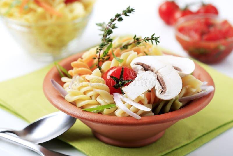 三色拔塞螺旋的意大利面食 免版税库存照片