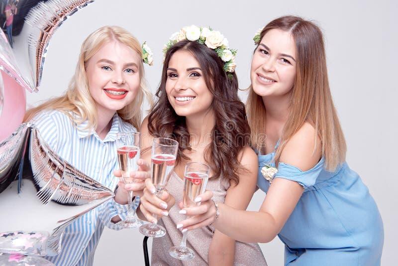 三获得微笑的妇女在党的乐趣 库存照片