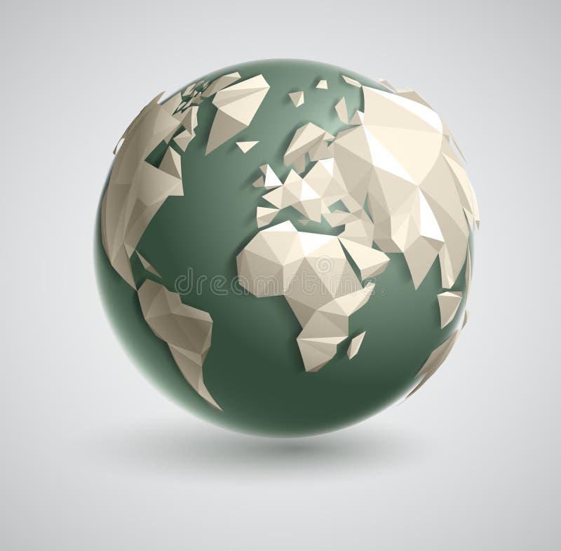 三角世界地球 向量例证
