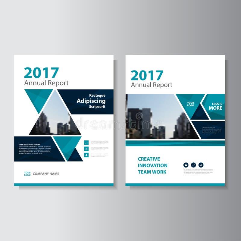 三角传染媒介年终报告传单小册子飞行物模板设计,书套布局设计,抽象介绍模板 库存例证