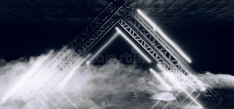 三角塑造了与烟和雾难看的东西混凝土的霓虹白色发光的科学幻想小说未来派现代空的场面阶段指挥台入口 向量例证