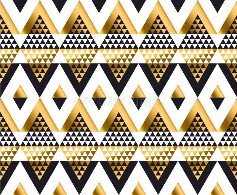 三角形状几何非洲部族无缝的样式 皇族释放例证