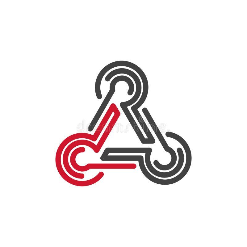 三角形状线分享商标象的连接 库存例证