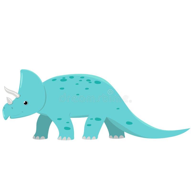 三角恐龙在白色背景的恐龙孤立 动画片向量图形 库存例证