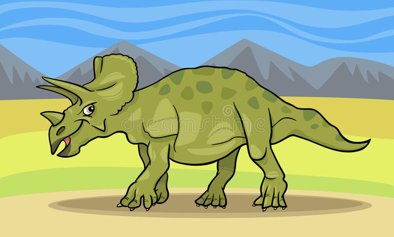 三角恐龙恐龙的动画片例证 库存例证