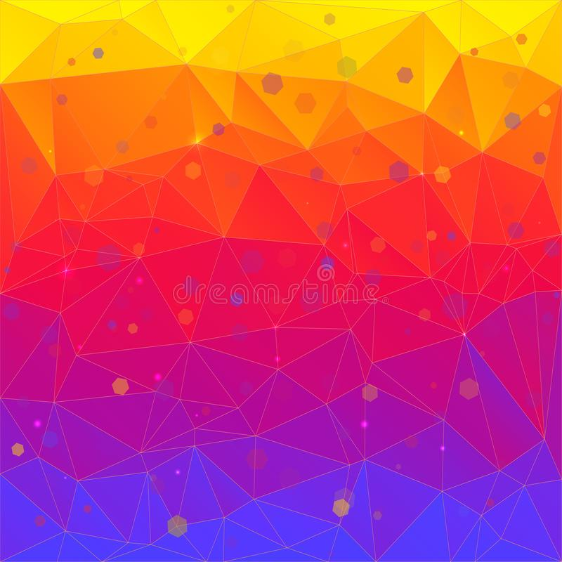 三角明亮的抽象背景  时兴的梯度,时髦背景与黄色,红色和蓝色花 低 库存例证