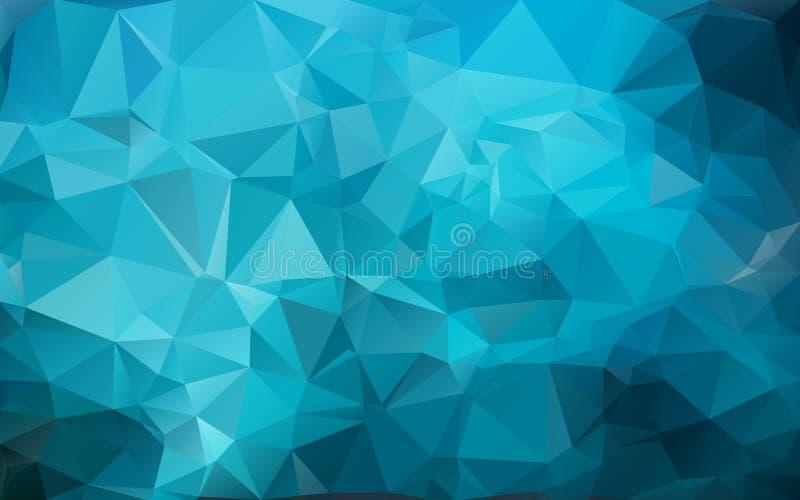 三角明亮的颜色的蓝色背景,海洋抽象背景 皇族释放例证
