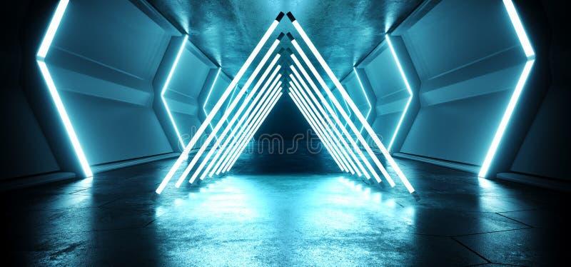 三角未来派科学幻想小说外籍人太空飞船霓虹激光带领了蓝色发光的隧道金属反射难看的东西水泥地板湿门 皇族释放例证