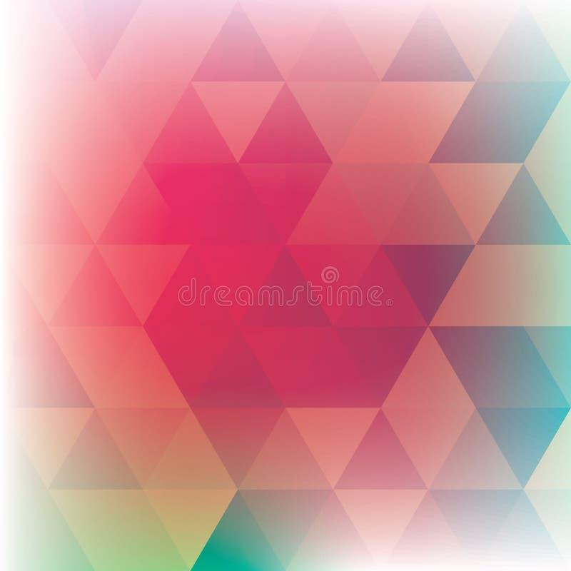 三角构造的樱桃色和绿色背景 库存例证