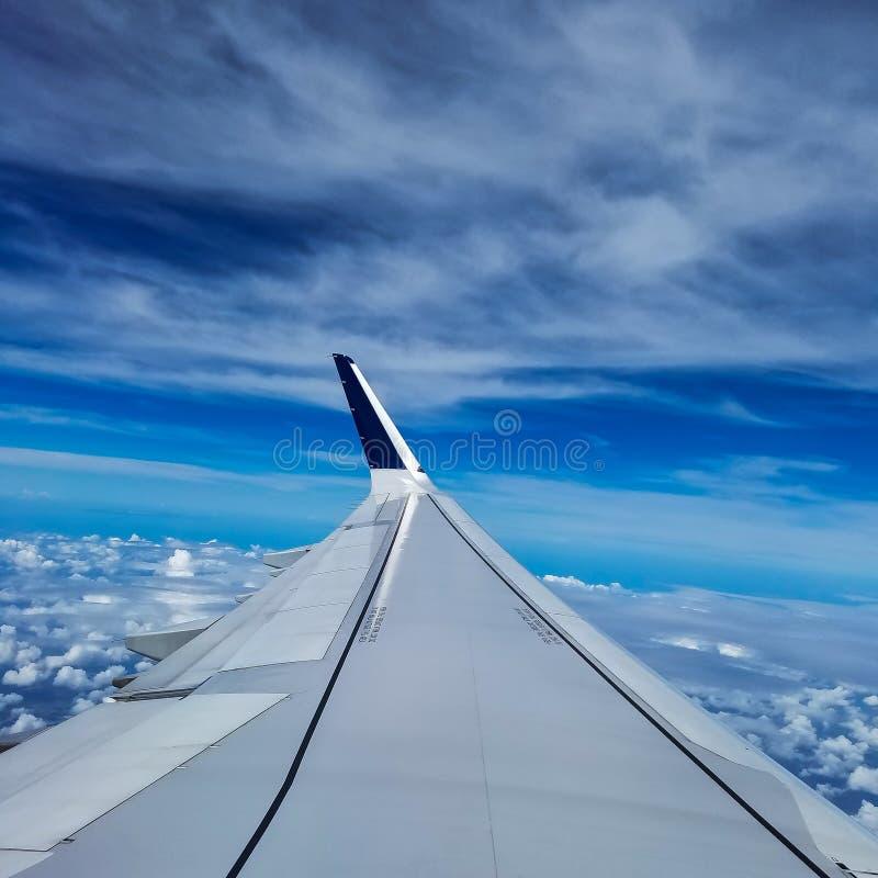 三角洲飞机在美丽的天空蔚蓝上的飞行上流 库存图片