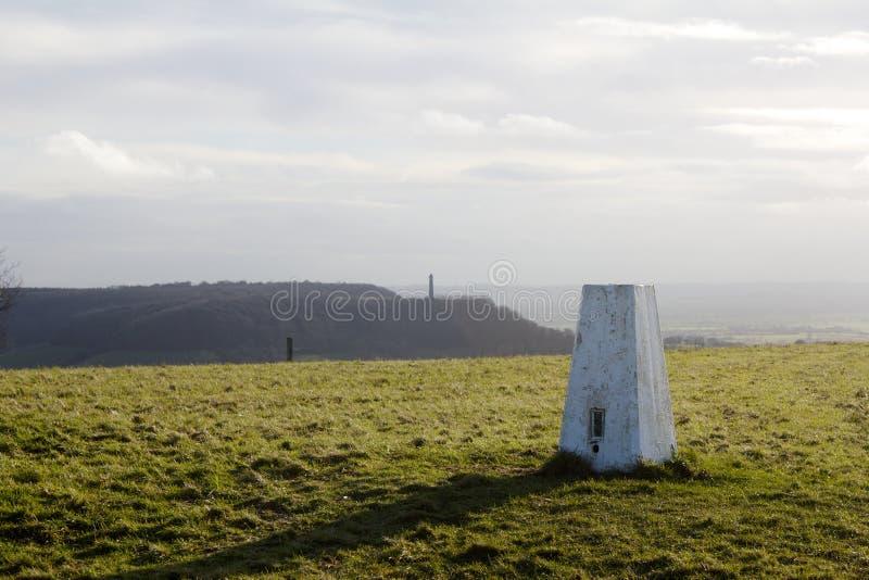 三角测量驻地,军用品调查, Stinchcombe小山, Dursley 库存照片