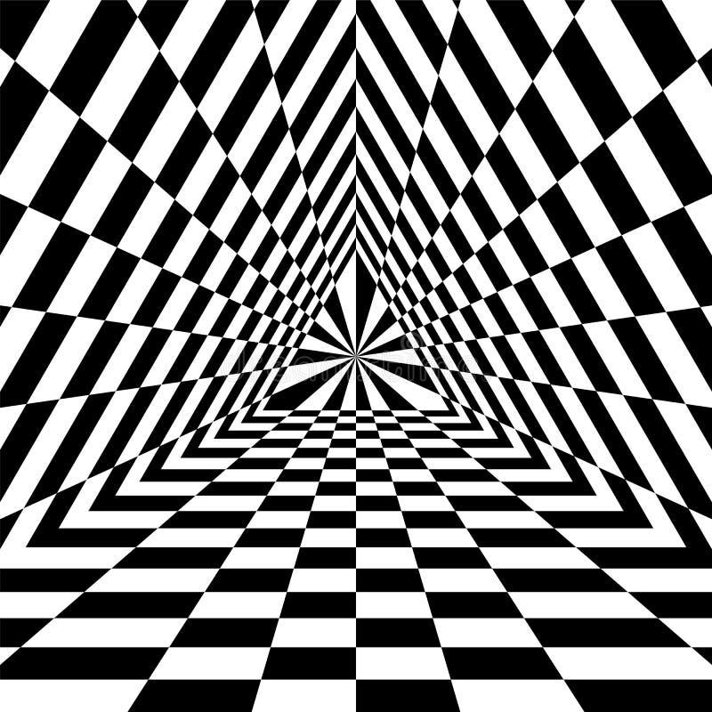 三角深渊 扩展从中心的黑白长方形 容量和深度错觉  库存例证