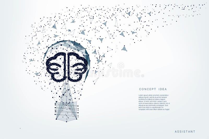 三角电灯泡和光亮脑子和点 背景浅灰色的线 对usb的概念连接数想法互联网租用线路 传染媒介多角形例证 皇族释放例证