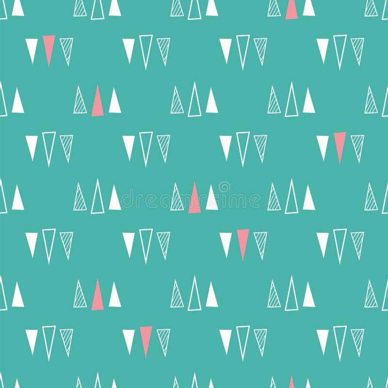 三角的无缝的样式在薄荷的绿色背景的 向量例证