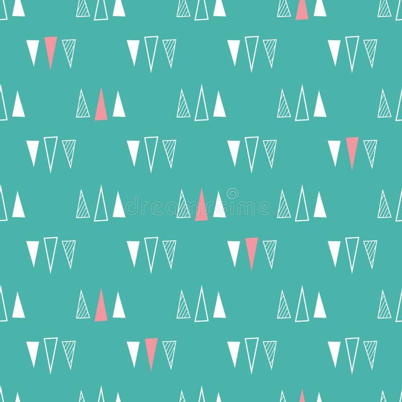 三角的无缝的样式在薄荷的绿色背景的 皇族释放例证