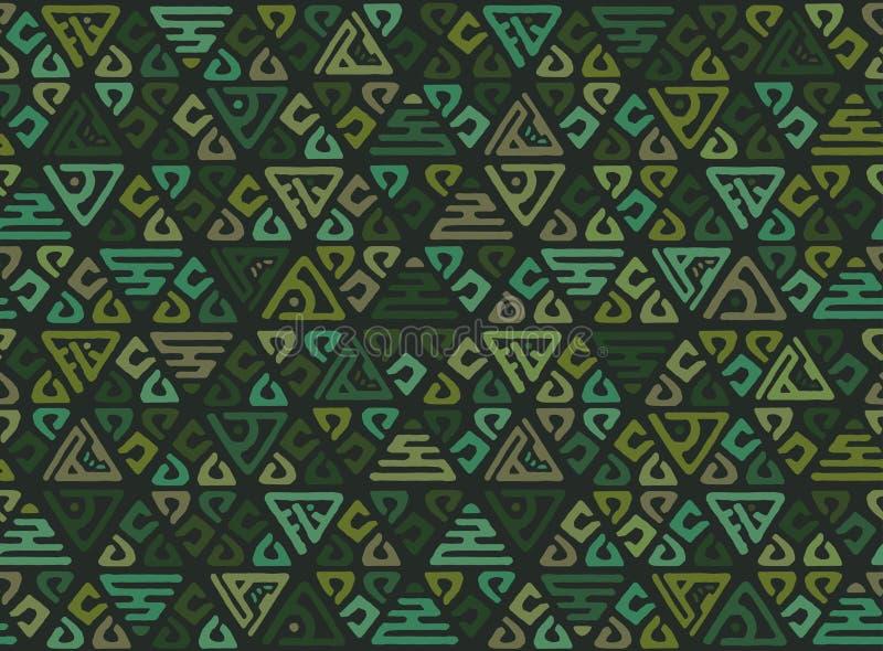 三角的种族无缝的几何样式在部落样式的 墙纸的补缀品背景 向量例证