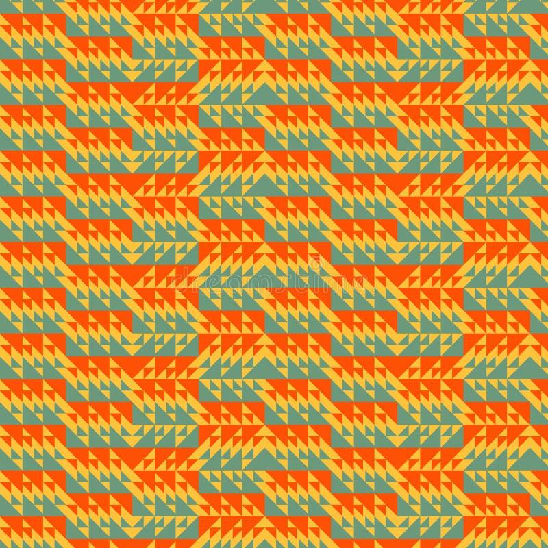 三角的红色,橙色和绿色生动的无缝的几何样式 皇族释放例证