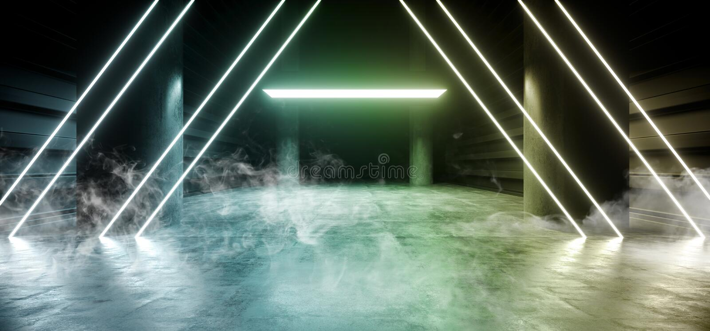 三角科学幻想小说烟霓虹激光太空飞船未来黑暗的走廊发光的青绿的具体难看的东西走廊虚拟现实 皇族释放例证