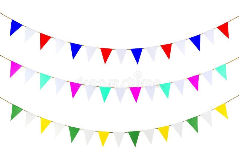 三角糊墙纸在绳索 免版税库存图片