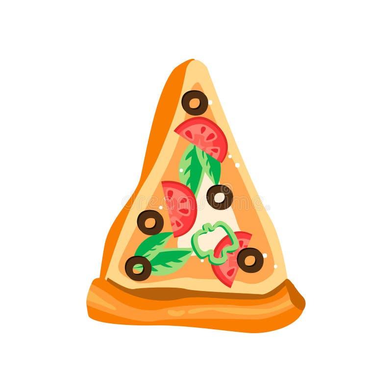 三角薄饼与新鲜的成份的 可口快餐 咖啡馆或比萨店的五颜六色的平的传染媒介设计 向量例证