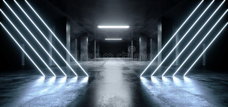 三角霓虹激光蓝色发光的科学幻想小说现代黑暗的具体水泥沥青未来派太空飞船地下车库隧道 库存例证