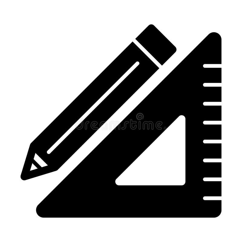 三角统治者和铅笔传染媒介象 学校工具的黑白例证 坚实线性教育象 皇族释放例证