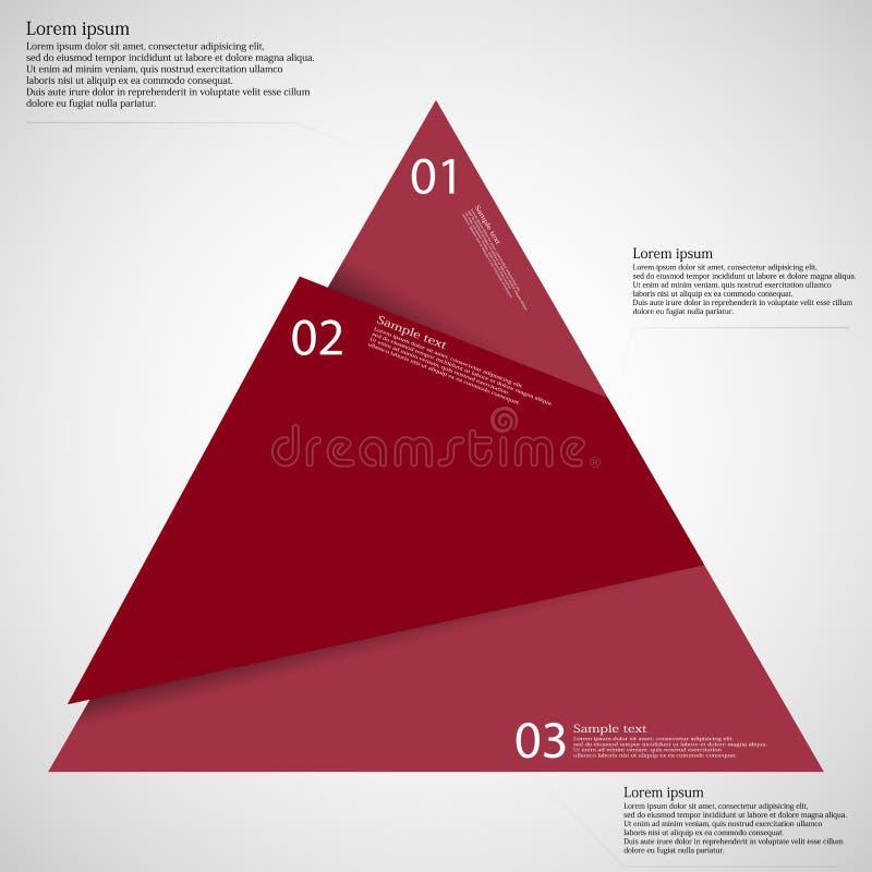 三角Infographic模板被削减对三红色部分 向量例证