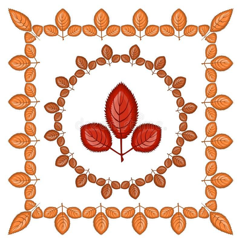 三趾叶子橙色框架-正方形和回合 在框架-大板料里面 在题材的例证- 皇族释放例证