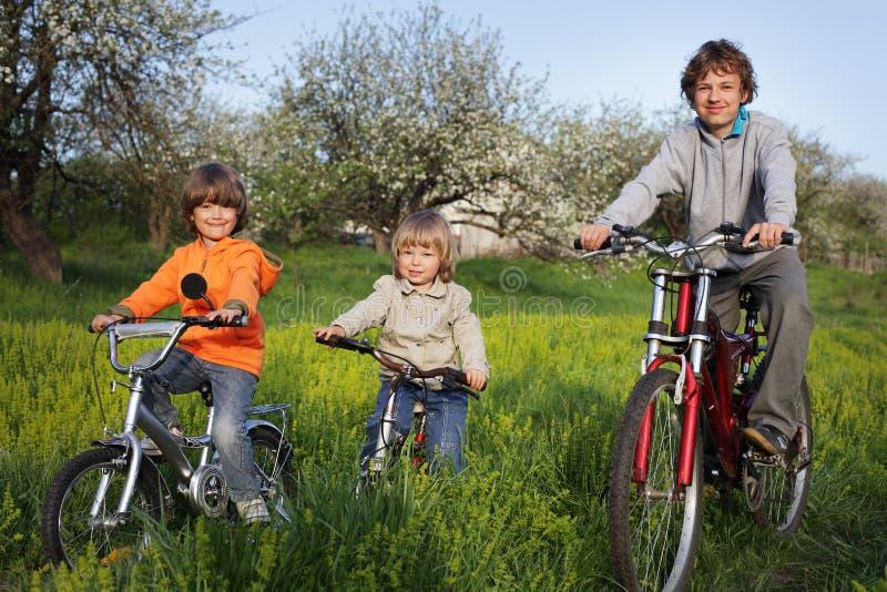 三辆兄弟乘驾自行车 库存照片