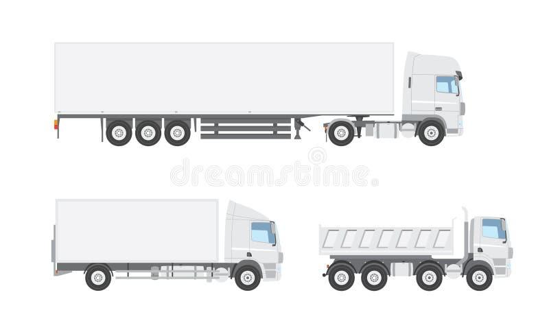 三辆白色传染媒介卡车 库存例证
