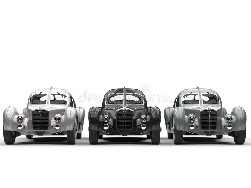 三辆葡萄酒汽车-正面图 向量例证