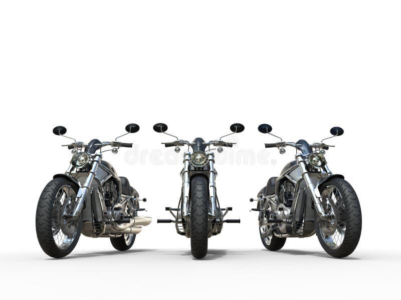 三辆令人敬畏的葡萄酒摩托车 库存照片