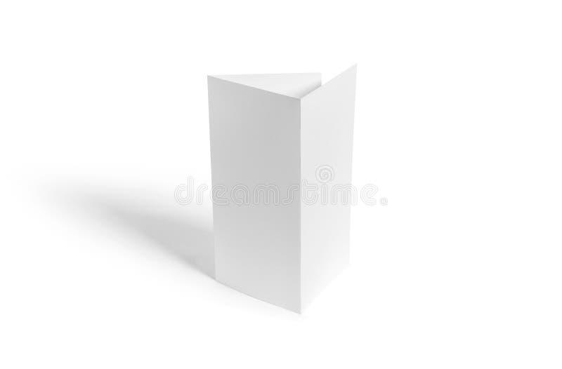 三部合成的小册子大模型 空白的在背景的小册子白色模板纸 免版税库存图片