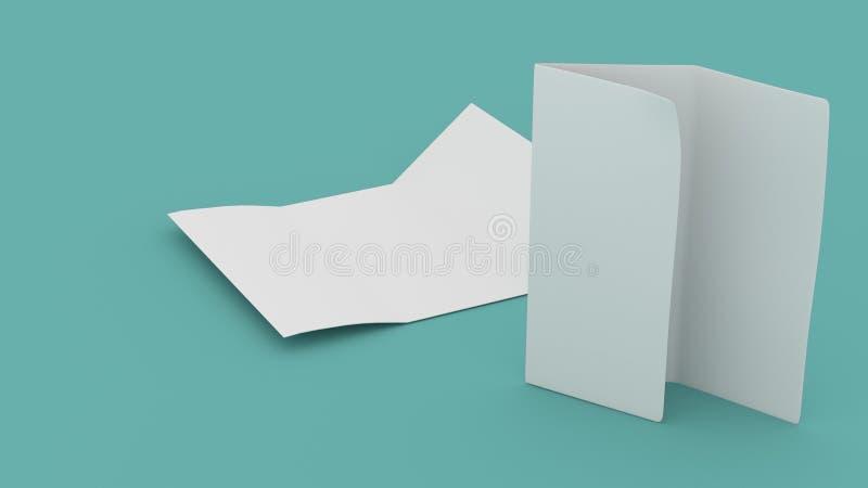三部合成的小册子空白的模板  库存照片
