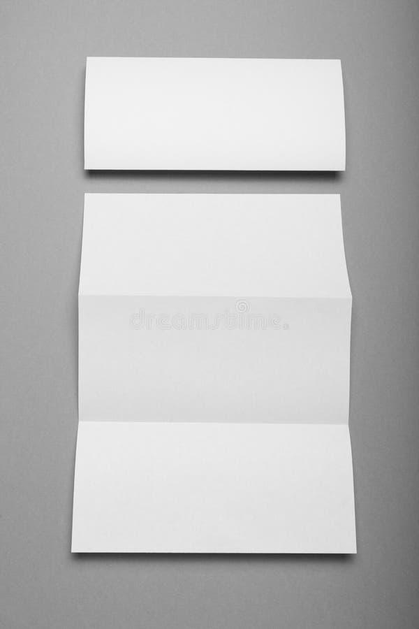 三部合成的小册子空白,空的企业飞行物,小册子 免版税库存图片