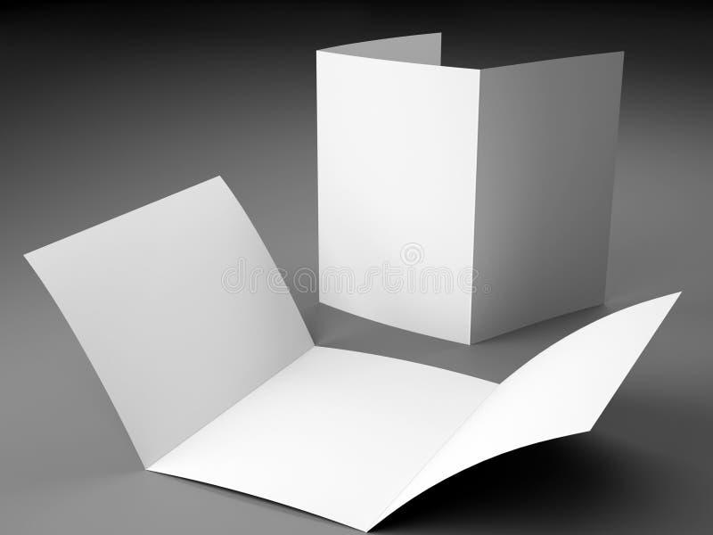 三部合成的小册子A4大小空白的模板  免版税图库摄影