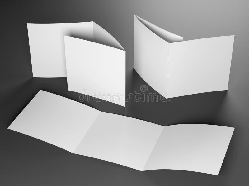 三部合成的方形的小册子空白的模板  免版税库存照片