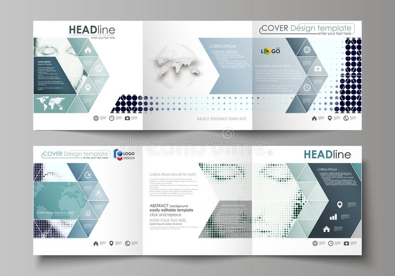 三部合成的方形的设计小册子的企业模板 传单盖子,传染媒介布局 中间影调被加点的背景,减速火箭 向量例证