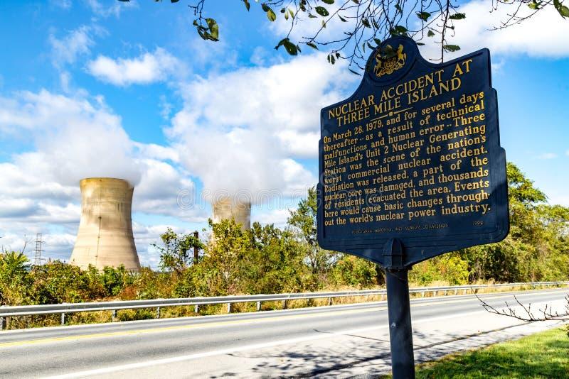 三里岛核电力发动的厂 免版税图库摄影
