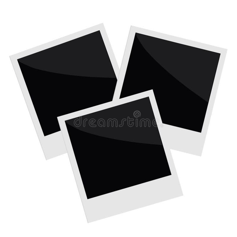 三隔绝了在平的设计样式的立即照片 向量例证