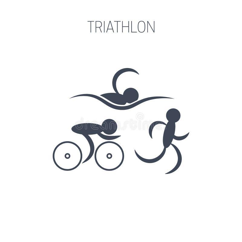 三项全能标志-跑,游泳和循环人 向量例证