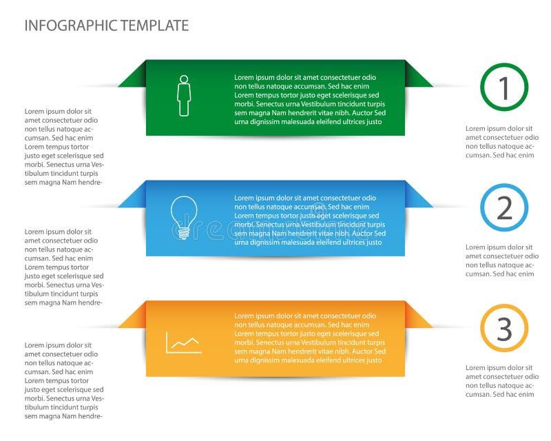 三颜色步信息图表模板 皇族释放例证