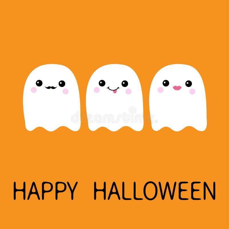 三飞行的鬼魂精神集合显示的舌头,髭,嘴唇 笨蛋 愉快的万圣节 可怕白色鬼魂 逗人喜爱的动画片鬼的炭灰 皇族释放例证