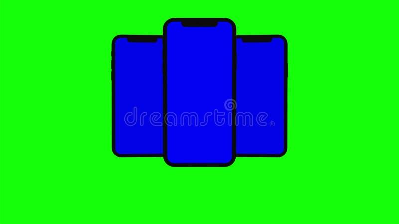 三黑智能手机在绿色背景转动  容易的定制的蓝色屏幕 计算机生成的图象 库存例证