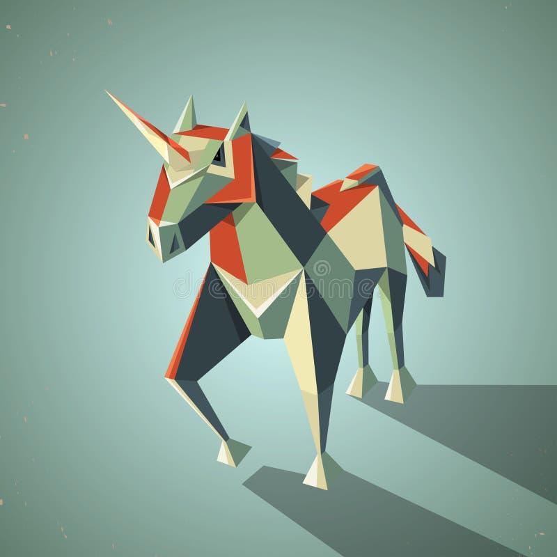 三维不可思议的origami独角兽从 皇族释放例证