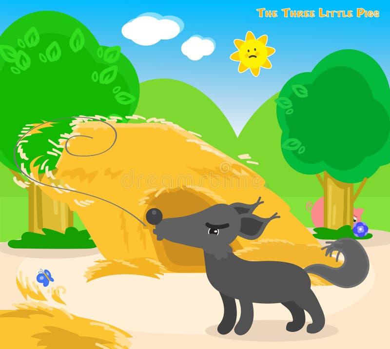 三头小的猪4 :大坏狼 库存例证