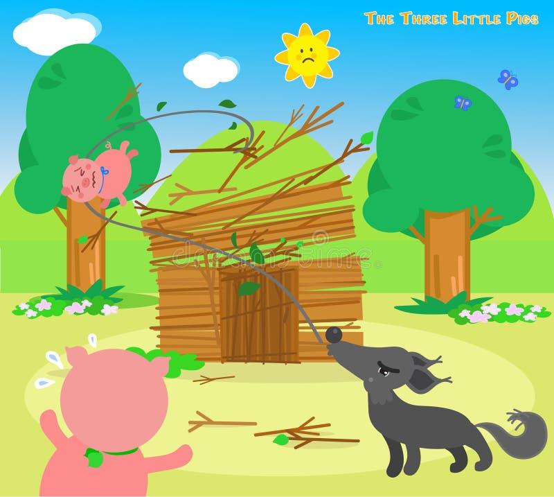 三头小的猪6 :狼毁坏 皇族释放例证