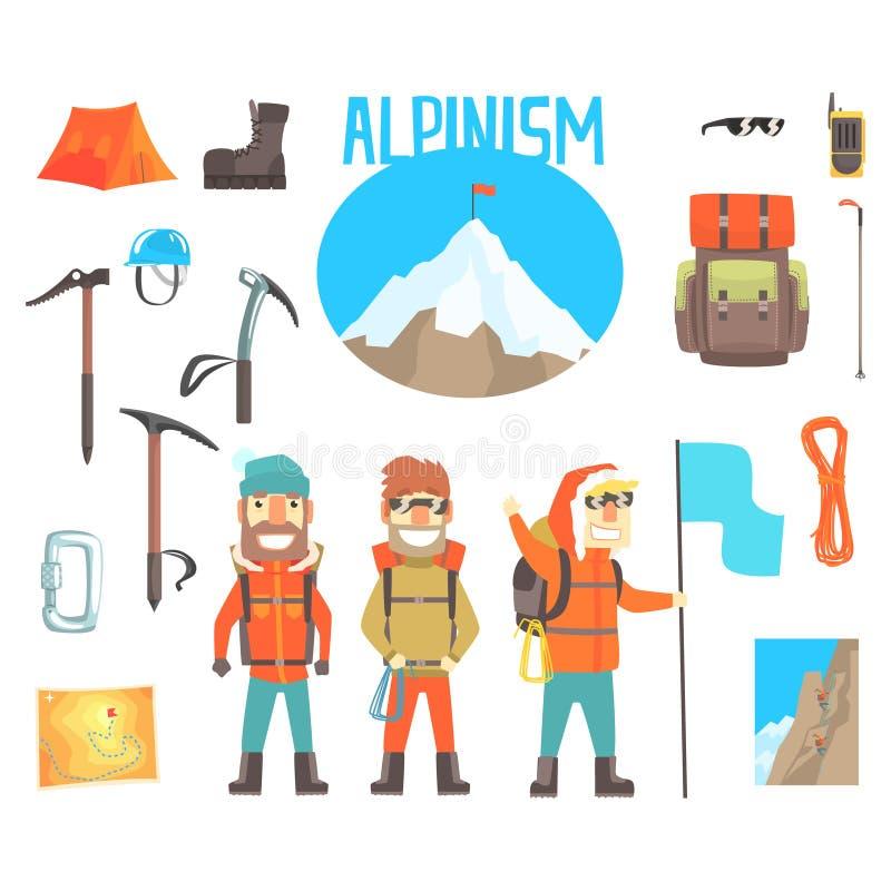 三登山家和登山设备套登山和登山家工具传染媒介例证 库存例证