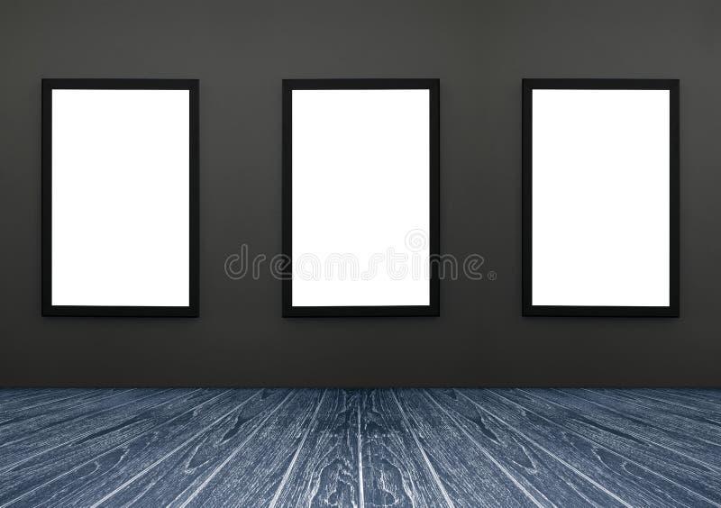 三黑框架垂悬在灰色墙壁上的,白色孤立,在框架的包括的裁减路线,透视深蓝木地板 免版税库存照片