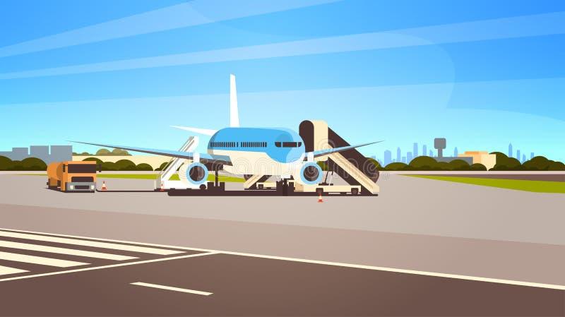 上乘客都市风景背景的机场终端航空器飞行平面离开等待平展水平 向量例证